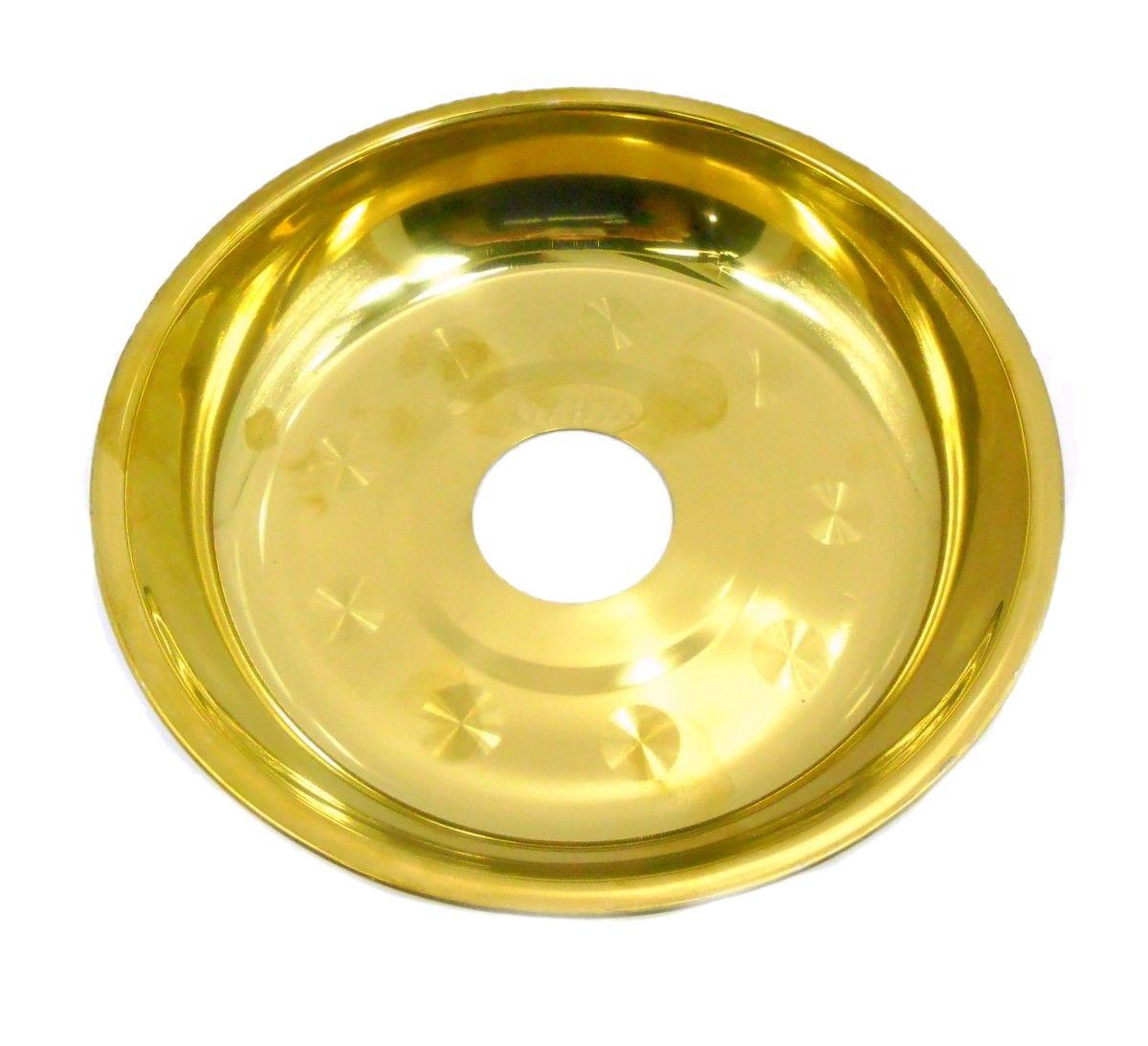 Prato para narguile Yahya P8 egípcio, em latão, 18cm de diâmetro, furo 4,4cm. Grande e fundo. Dourado