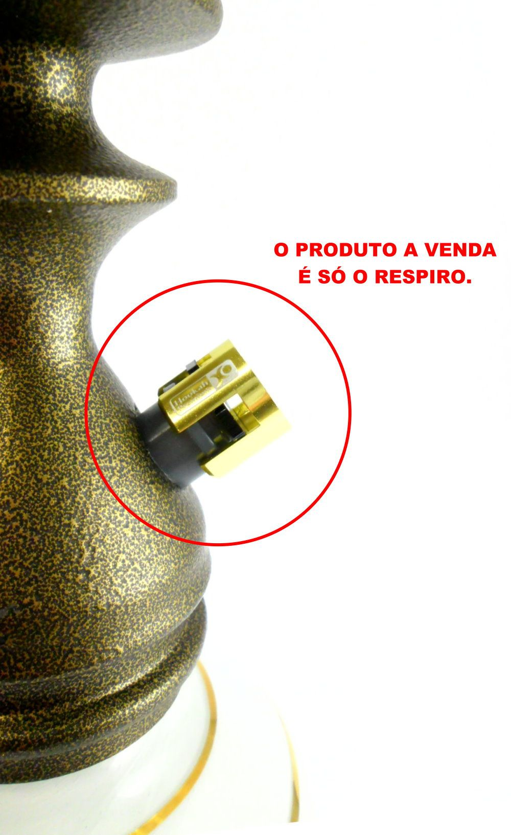 Respiro / Válvula para narguile Hookah Premium AirFlow Extreme, encaixe MACHO. Dourado
