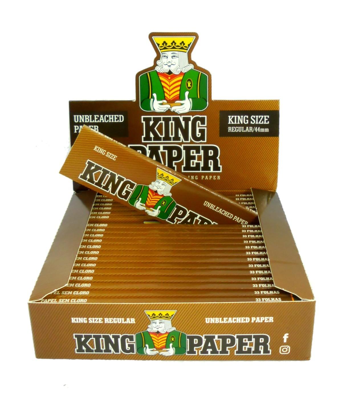 Seda King Paper Unbleached (MARROM) KING SIZE. Tamanho Grande/Regular 110X44mm marca Aleda - LIVRO AVULSO 33 folhas
