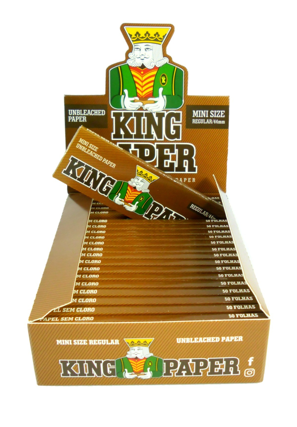 Seda King Paper Unbleached (MARROM). Tamanho Regular/Pequeno 78X44mm marca Aleda - LIVRO AVULSO 50 folhas