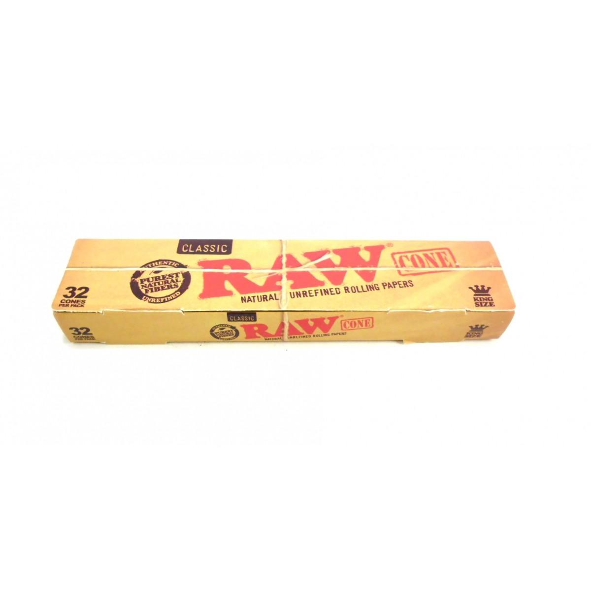 Seda RAW Classic, CONE PRONTO COM PITEIRA, tamanho King Size 110mm. Unitário (1 cone de seda com piteira avulso).