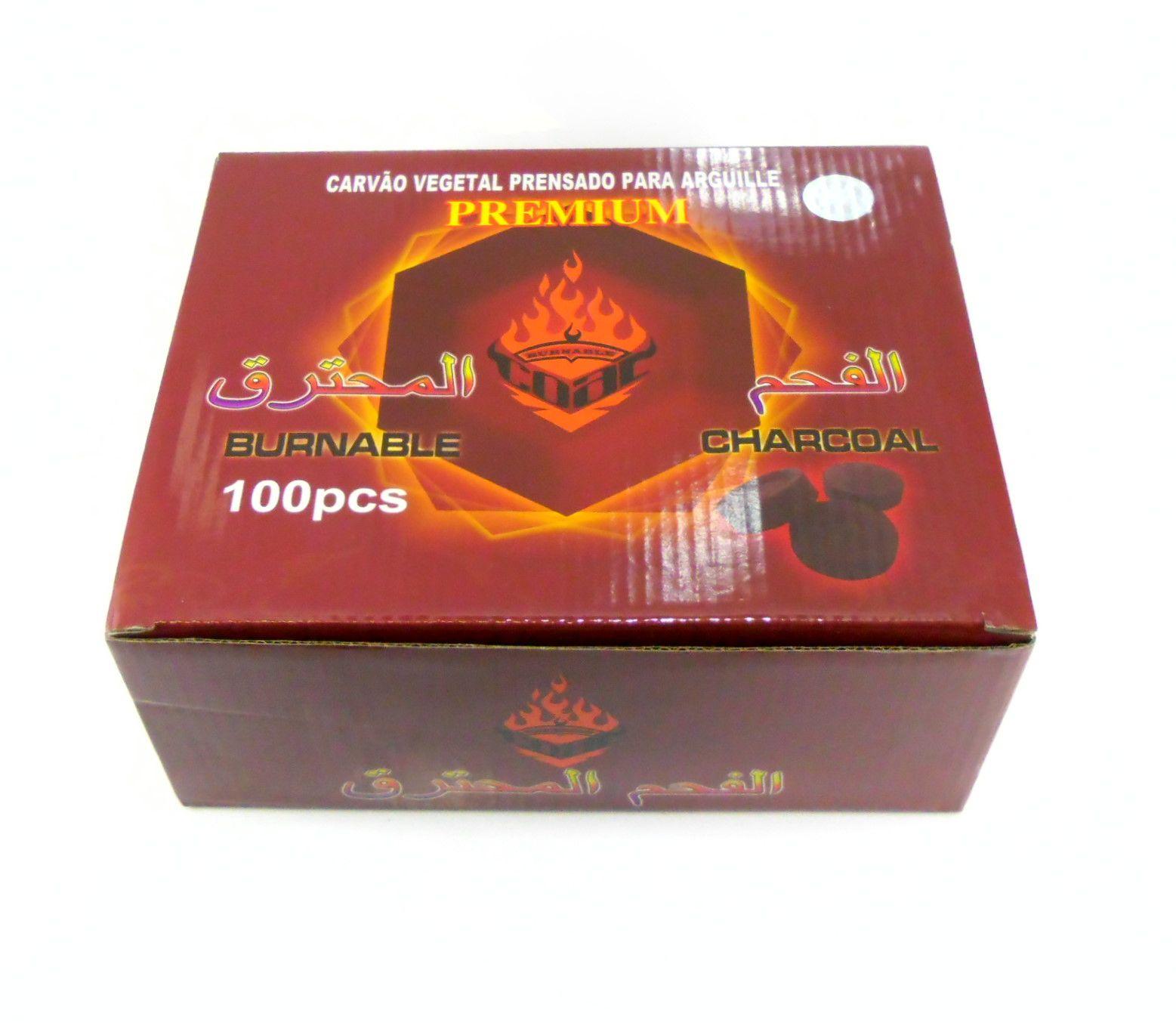 Sete (7) caixas de carvão GG BURNABLE acendimento rápido. 100 unid. por caixa.