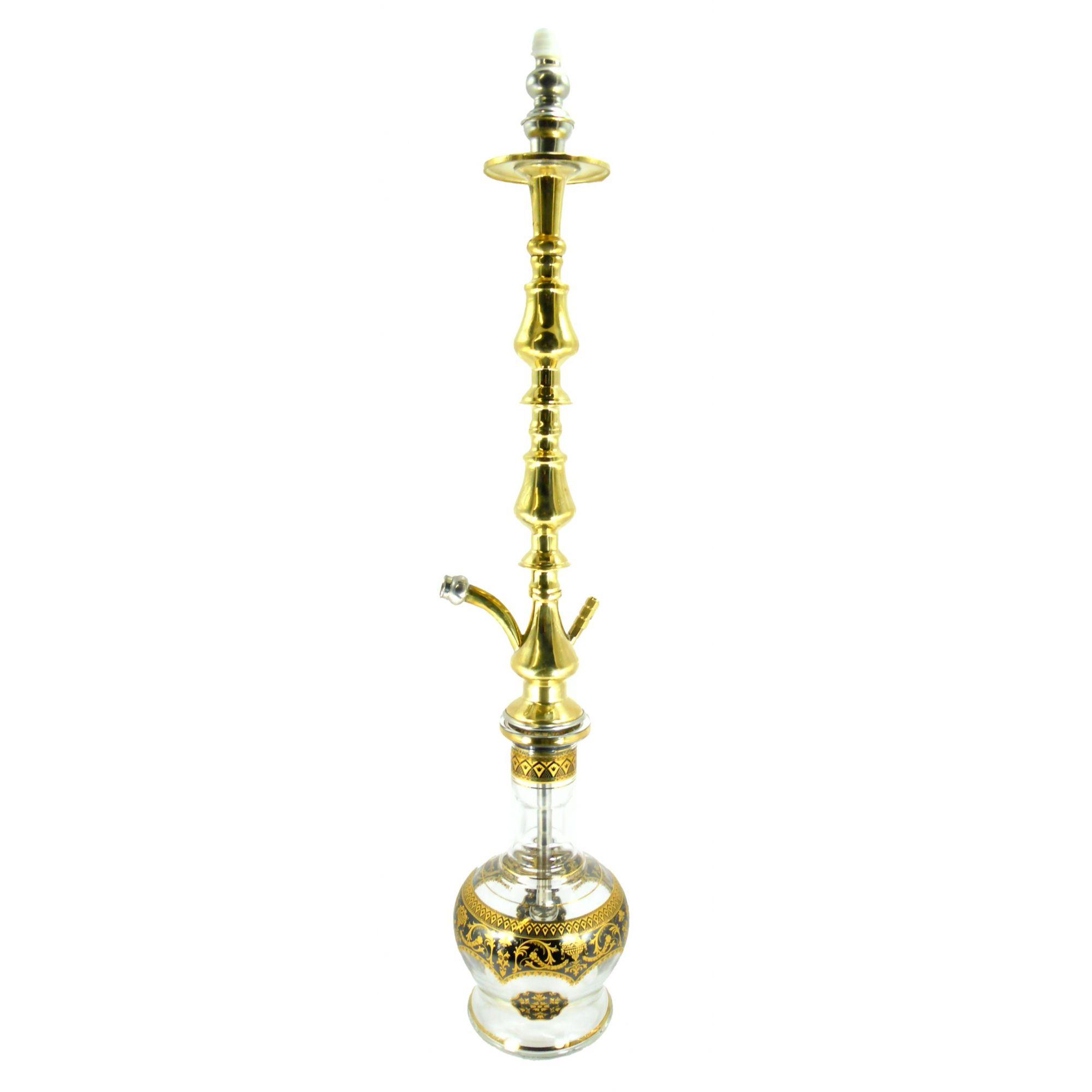 Stem artesanal egípcio Royal bronze 77cm, vaso Jumbo Preto e dourado e vedações.