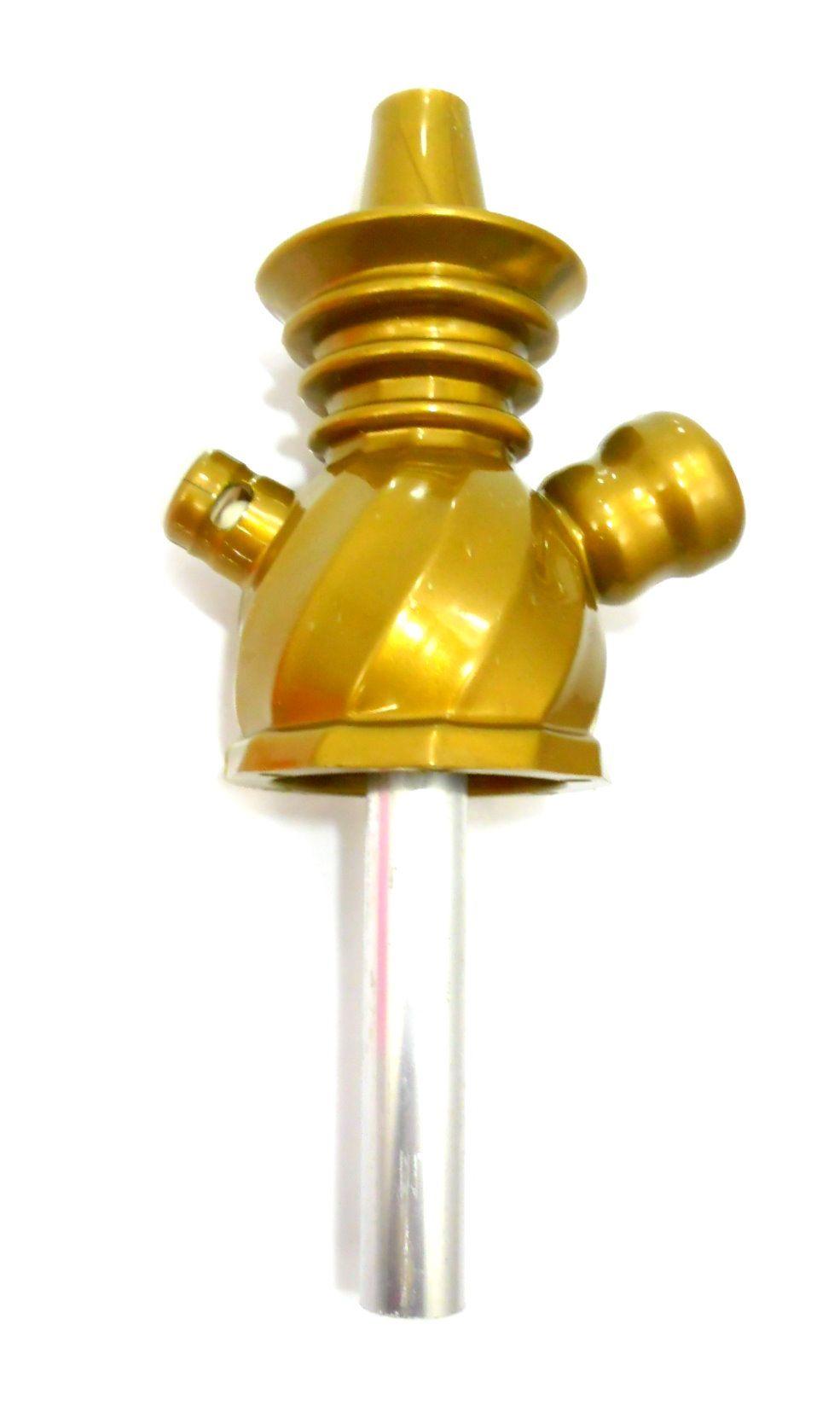 Stem (corpo de narguile) AHALALOUD CONCEPT em polipropileno e tubo interno alumínio. Cor:Dourado