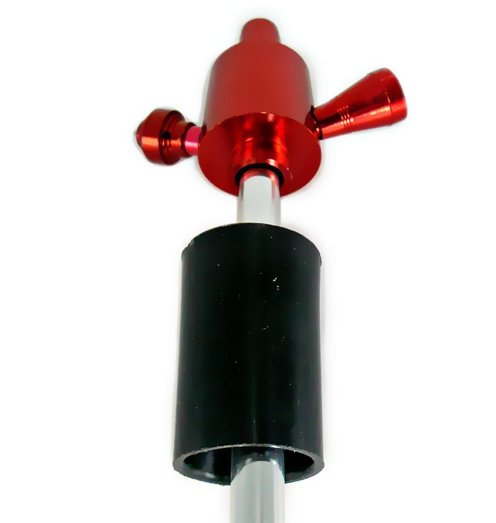 Stem (corpo de narguile) em alumínio p/NARGUILE DE GARRAFA, COM PRATO e tubo interno. 26cm. DOURADO.