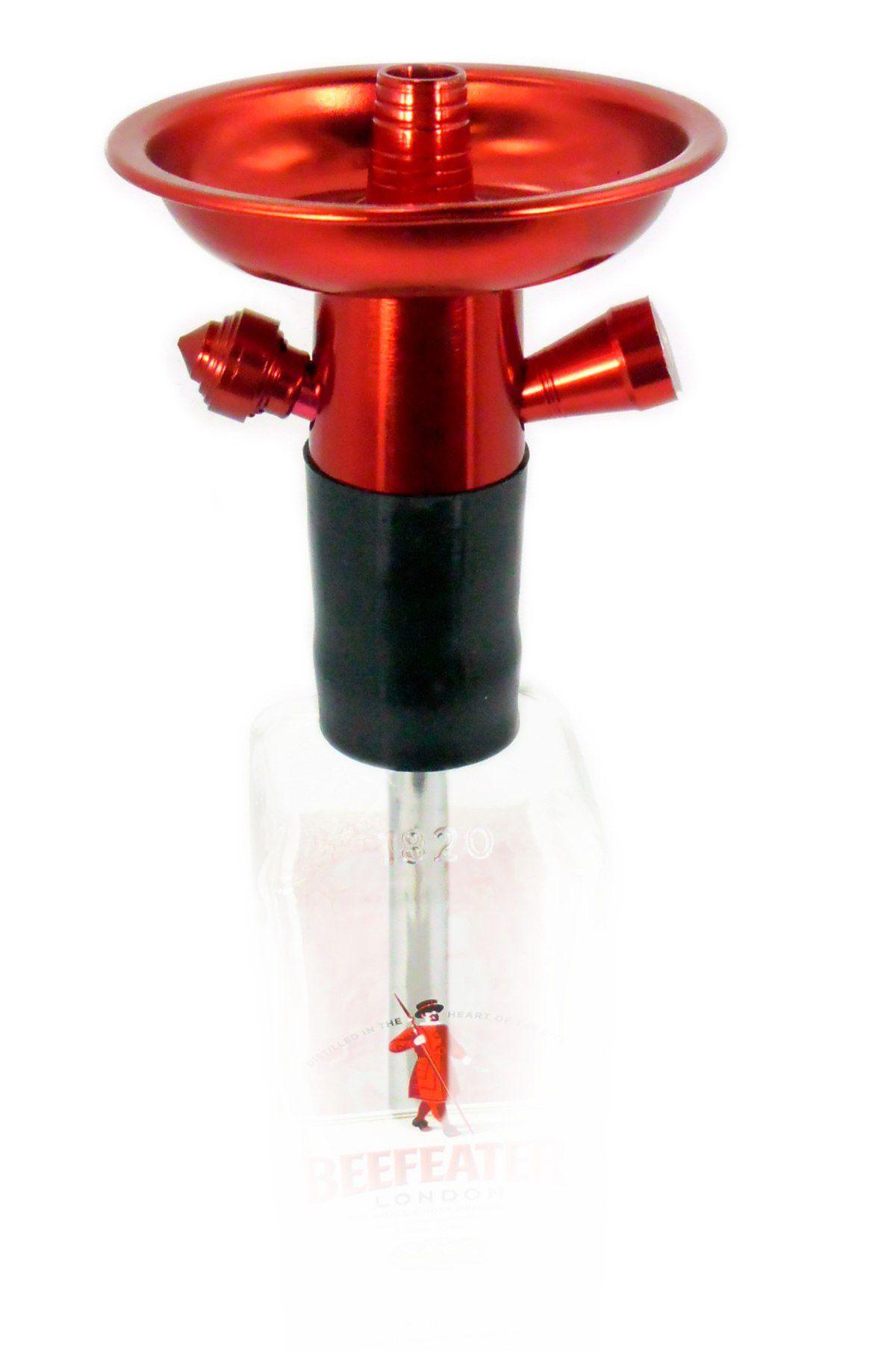 Stem (corpo de narguile) em alumínio p/NARGUILE DE GARRAFA, COM PRATO e tubo interno. 26cm. VERMELHO