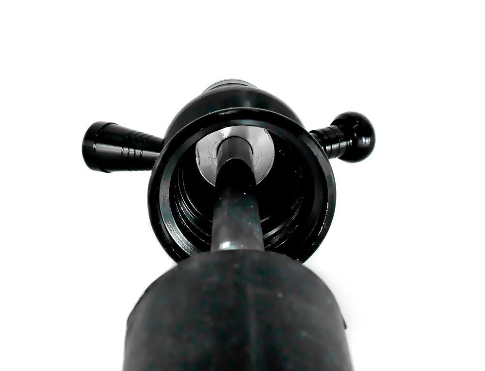 Stem (corpo de narguile) em alumínio p/NARGUILE DE GARRAFA, COM PRATO e tubo interno. 31cm. PRETO.