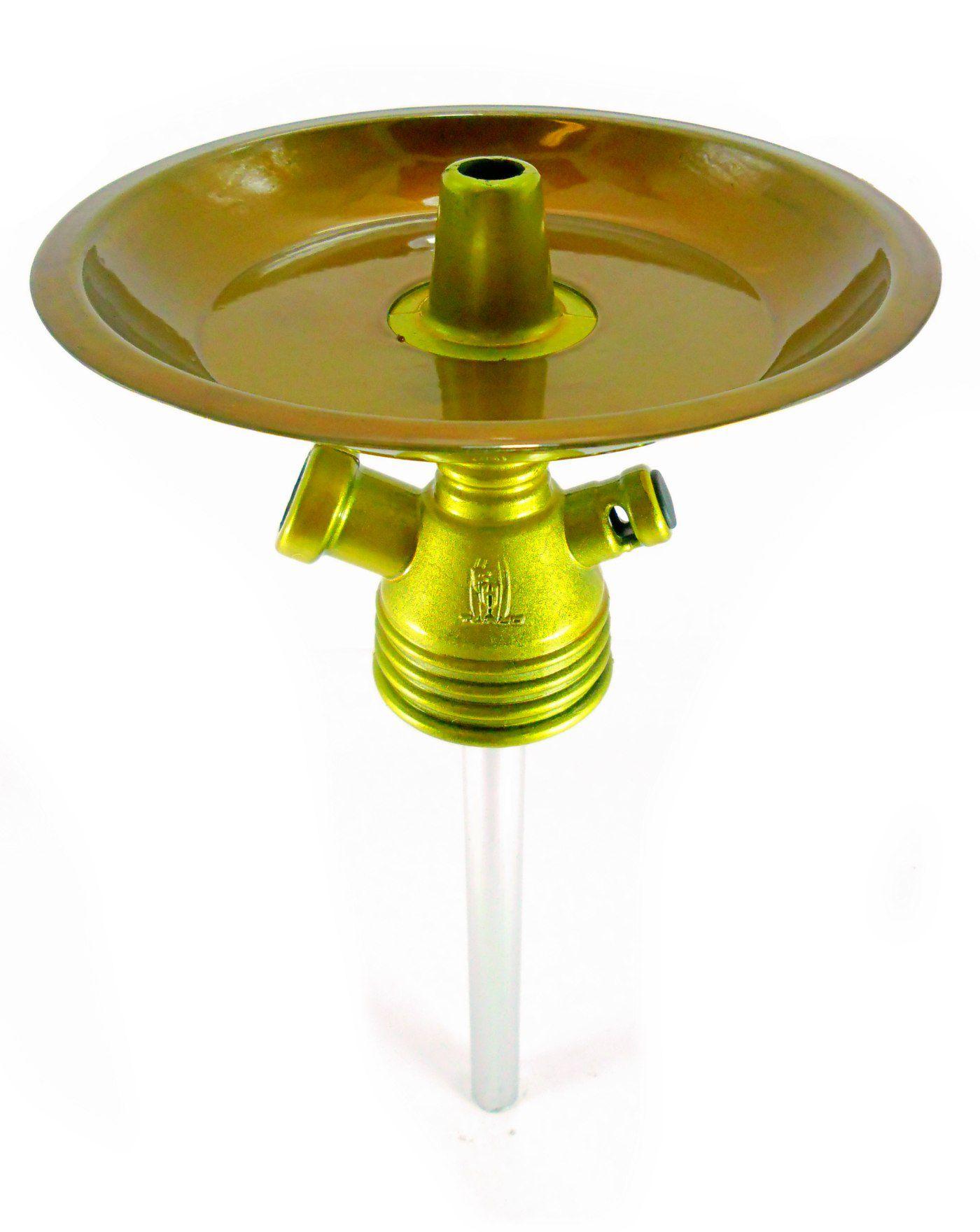 Stem (corpo de narguile) em polipropileno para adaptar em garrafa + Tubo interno + Prato + Vedações. Cor:Verniz Dourado