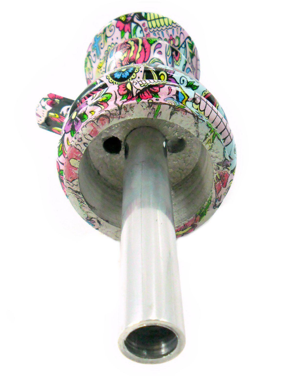 Stem (corpo de narguile) JUDITH CAVEIRA MEXICANA (LA CATRINA) 22cm, alumínio usinado, dutado.