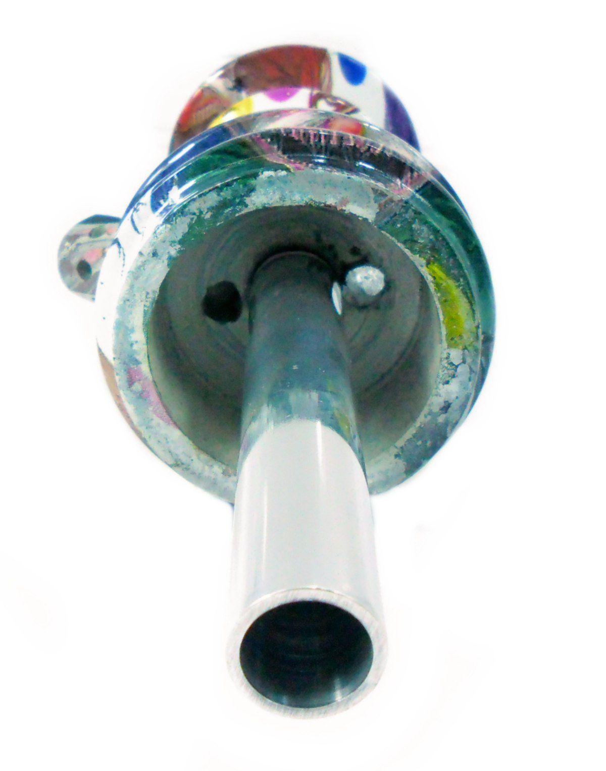 Stem (corpo de narguile) JUDITH PALHAÇO MACABRO 22cm, alumínio usinado, dutado, pintura hidrográfica