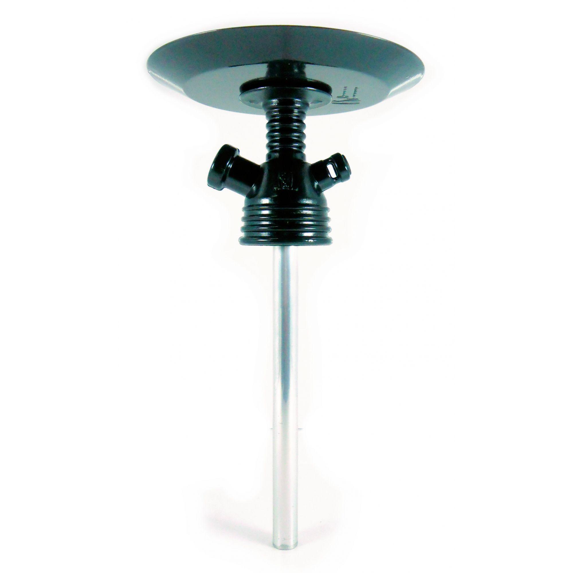 Stem (corpo de narguile) polipropileno p/adaptar em garrafa, tubo, prato, adaptador e vedação. Preto