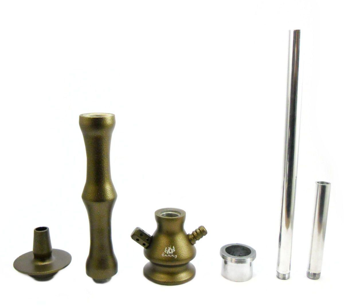 Stem (corpo de narguile) RANNY OURO VELHO. Inox, híbrido (grande/pequeno, vasos macho/fêmea).
