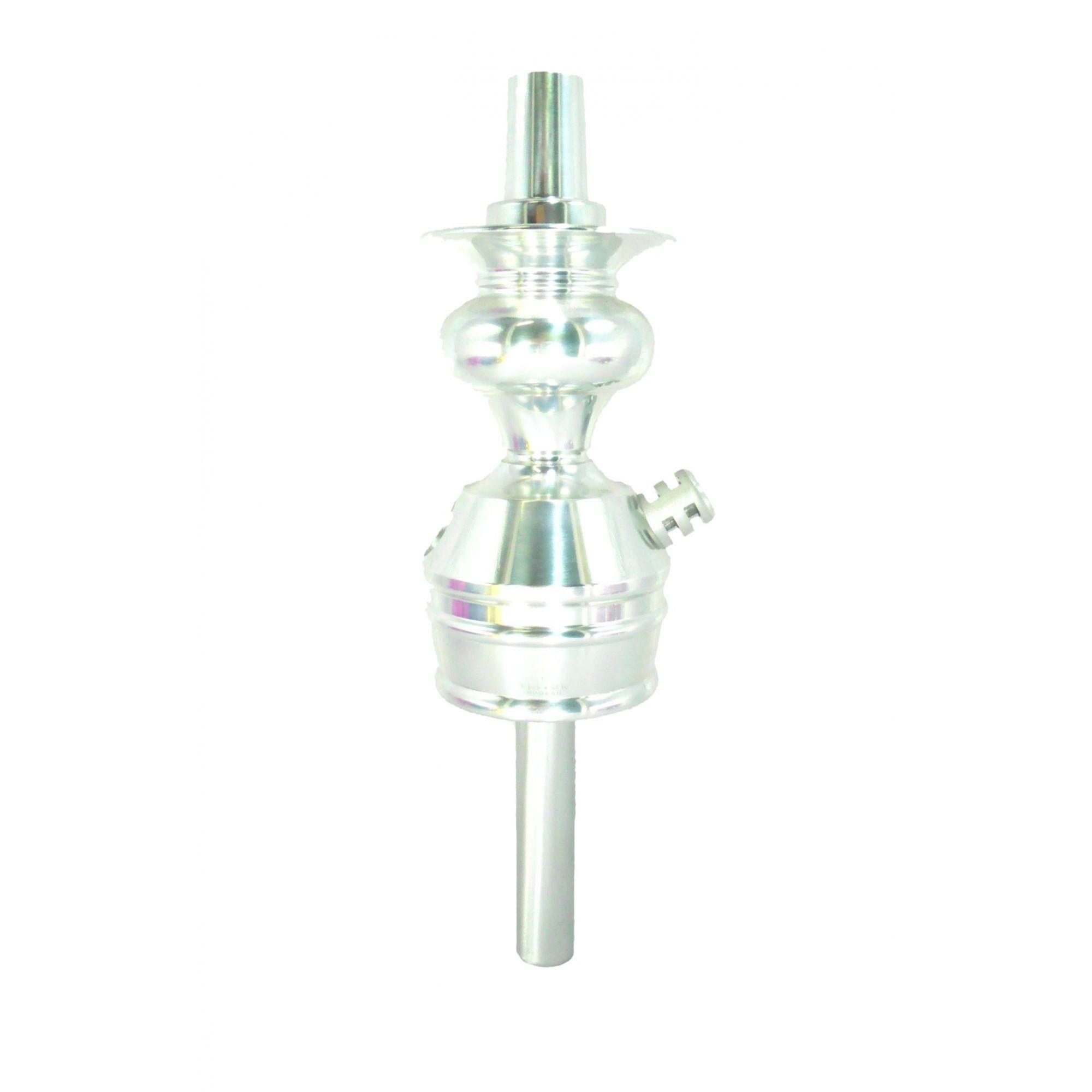 Stem (corpo de narguile) TRITON ZIP, em alumínio maciço, usinado e dutado. 22cm de altura do stem. Cromado