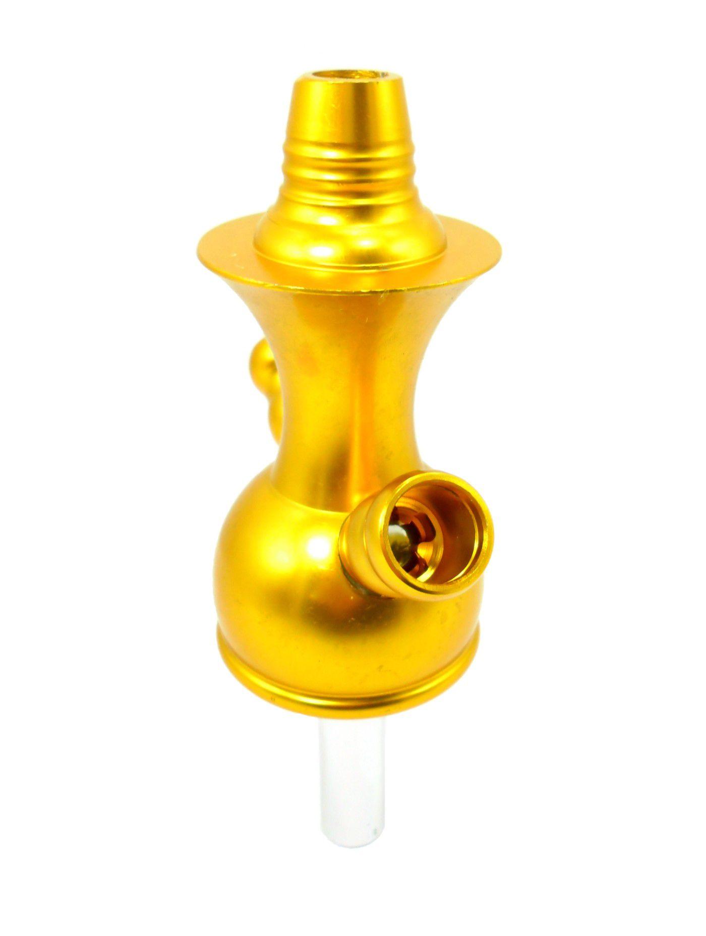Stem (corpo de narguile) YAHYA A119 (Monte Verde) 2 saídas de mangueira, alumínio anodizado dourado