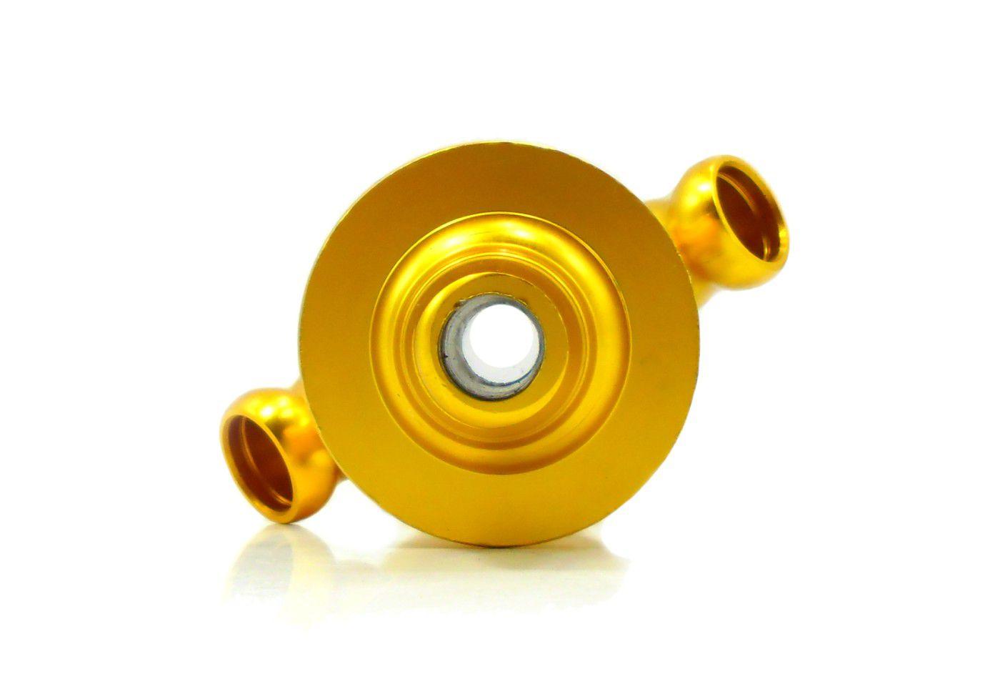 Stem (corpo de narguile) YAHYA Monte Verde, 2 saídas de mangueira, em alumínio anodizado cor dourado