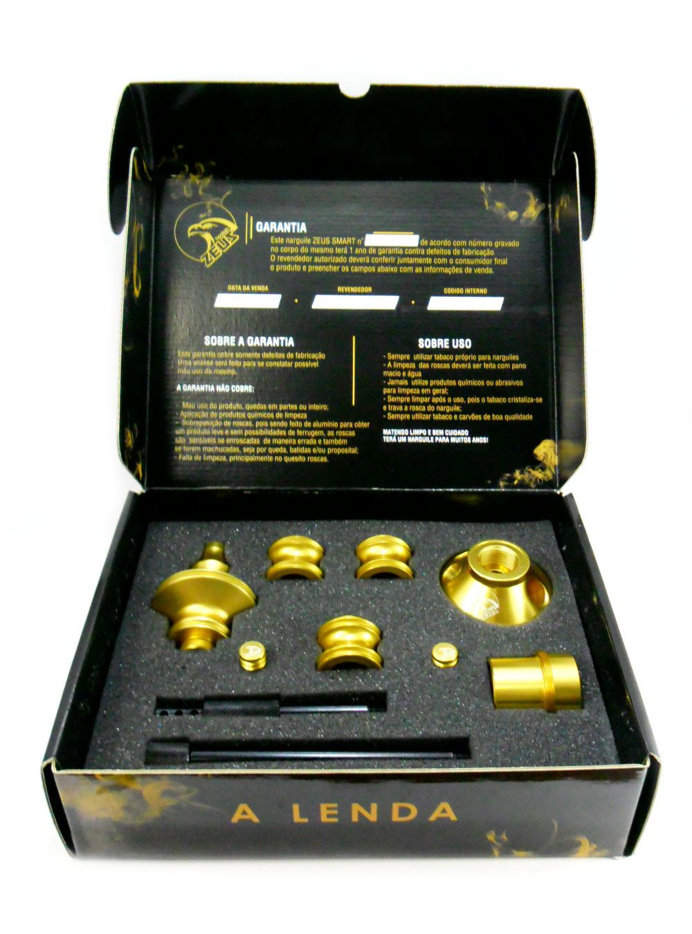 Stem (corpo de narguile) Zeus Smart Híbrido - cor Dourado