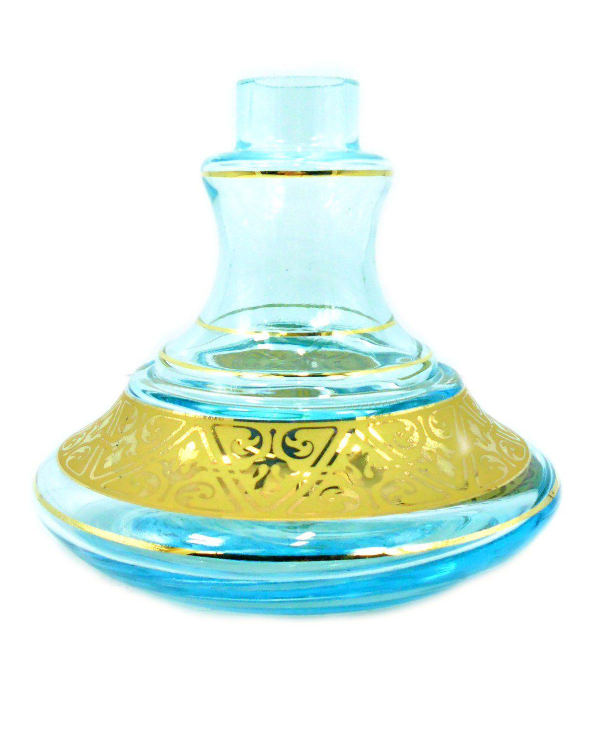 Vaso/base p/narguile ALADIN PEQUENO MG Hookah. 15cm alt, 3,8cm bocal. AZUL E FAIXA DOURADA.QB0418