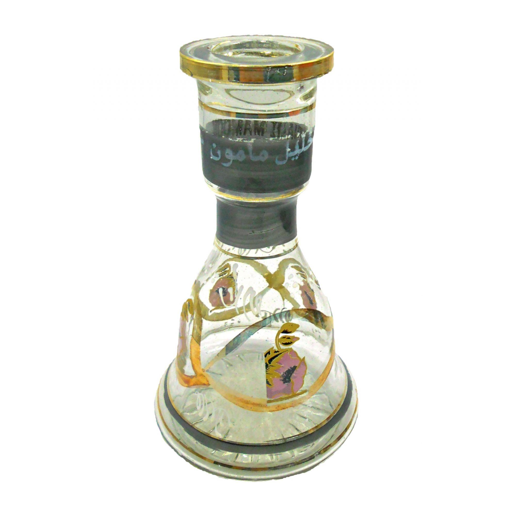 Vaso/base p/narguile em vidro c/pintura artesanal, LISTRA PRETA, egípcio Khalil Mammoon, SINO 22cm.