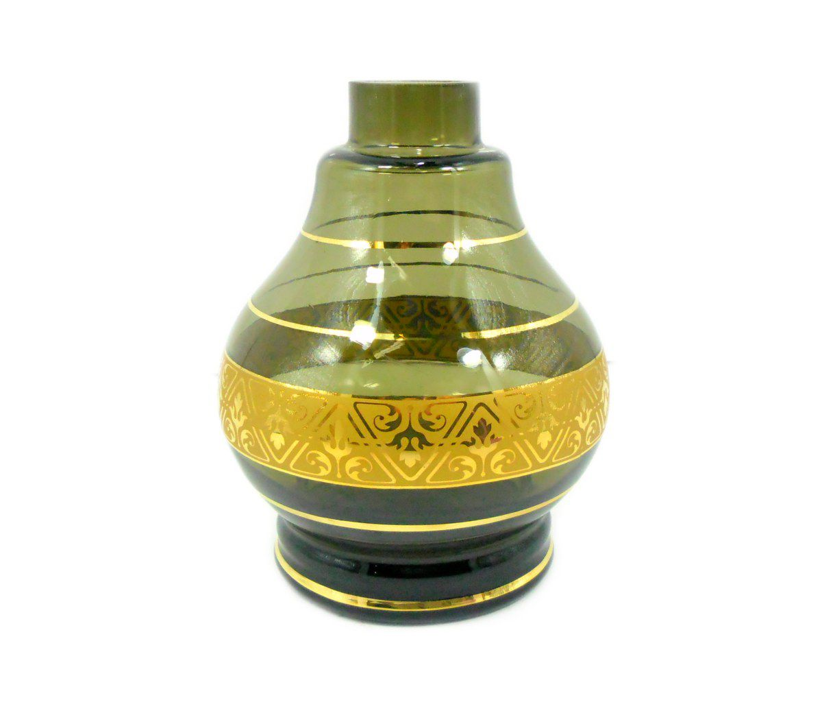 Vaso/base p/narguile GOTA / DROP MG Hookah. 15,0cm alt, 3,8cm bocal. CINZA E FAIXA DOURADA.QB0317