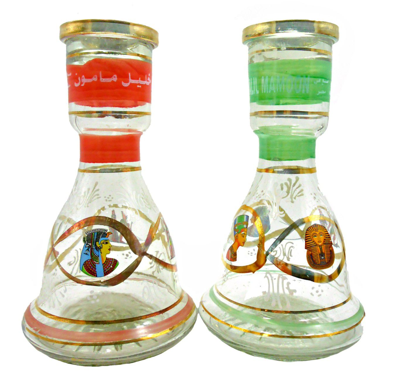 Vaso/base p/narguile vidro c/pintura artesanal LISTRA HORIZONTAL, egípcio Khalil Mammoon, SINO 22cm.
