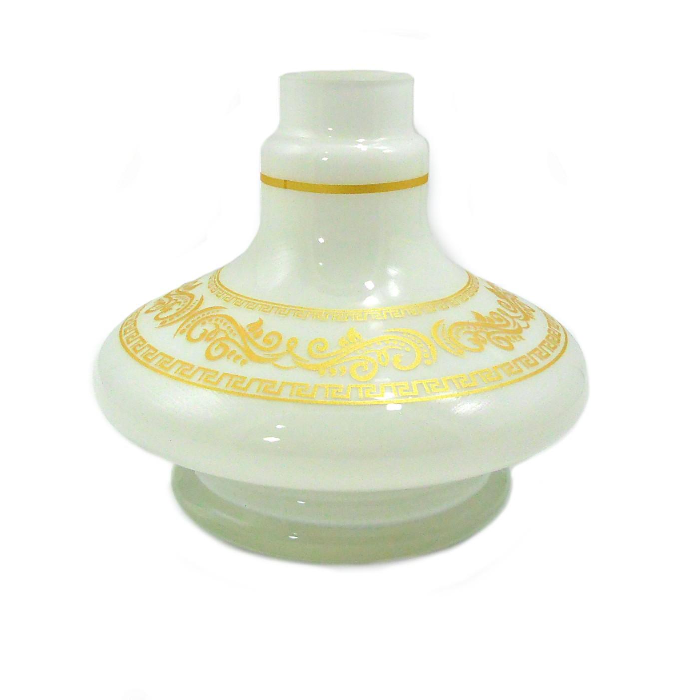 Vaso/base para narguile SHISHA GLASS modelo ALADIN (13,5cm), listras e desenhos dourados. 3,9cm diâm. bocal