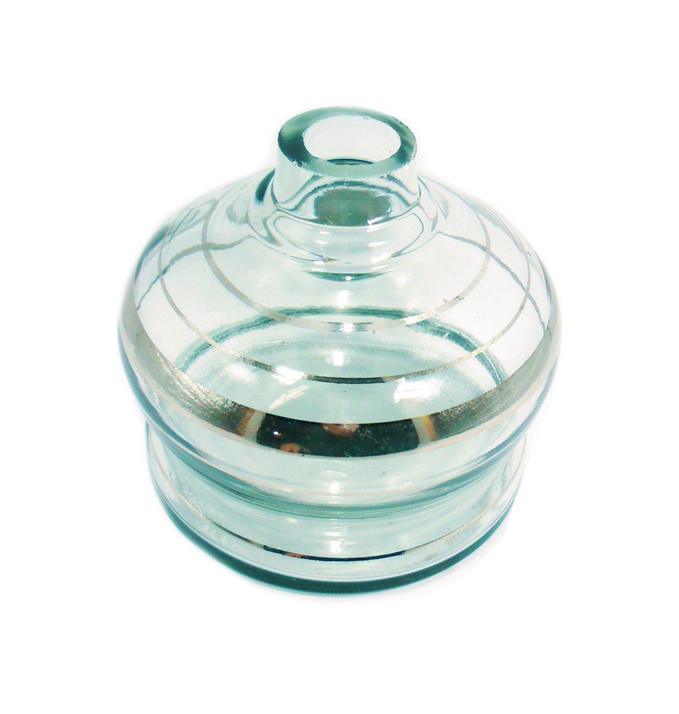 Vaso/base para narguile ALADIN 13cm, egípcio, vidro transparente c/LISTRAS PRATEADAS. Bocal 4,0cm.