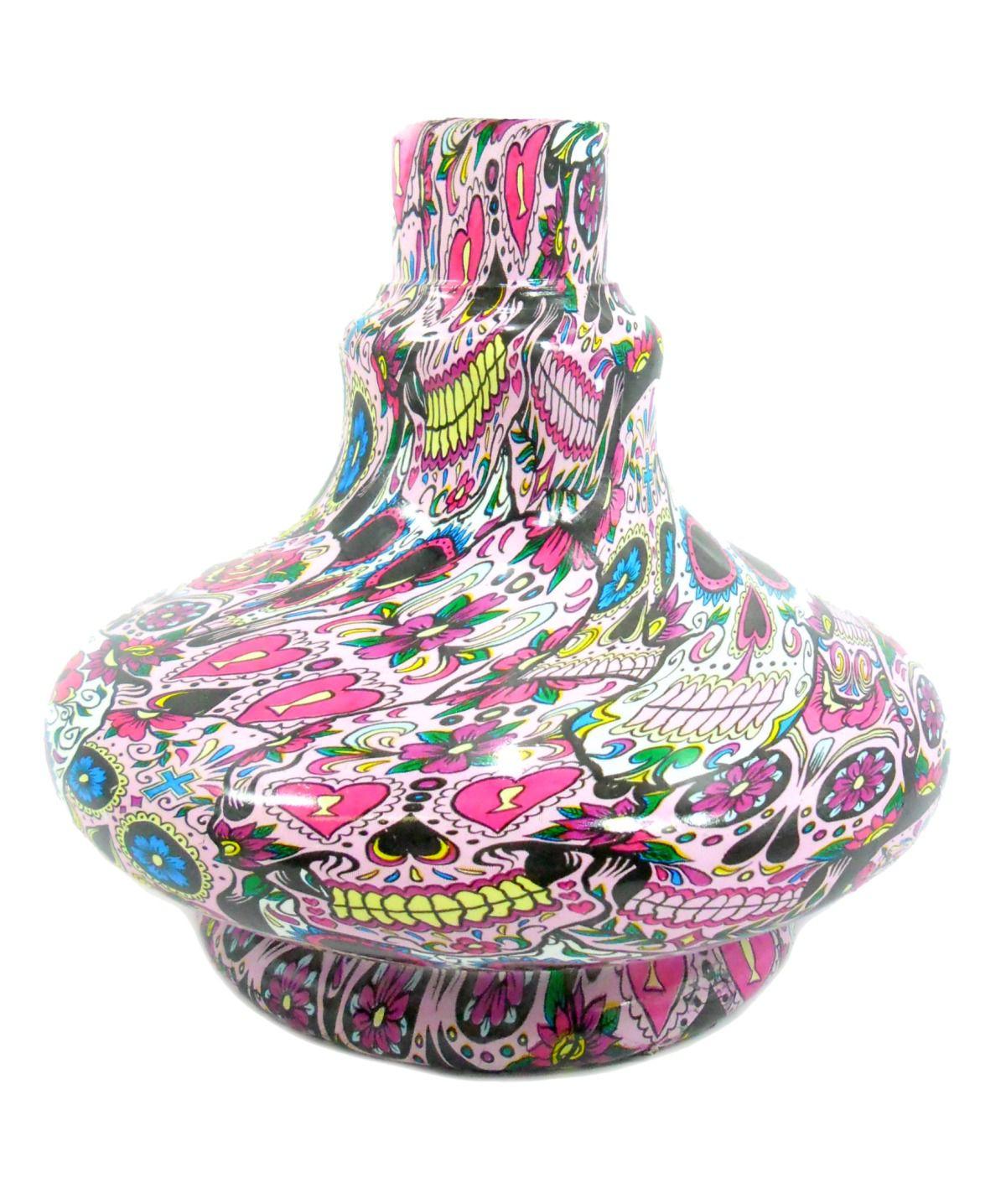 Vaso/base para narguile ALADIN em plástico ESTAMPA HIDROGRÁFICA. 13,5cm alt.; 3,9cm bocal (macho).