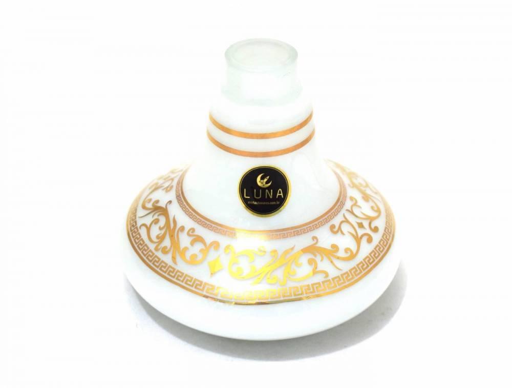 Vaso/base para narguile Aladin/Gênio 14,5cm marca LUNA, decorado DESENHOS DOURADOS. Encaixe macho.