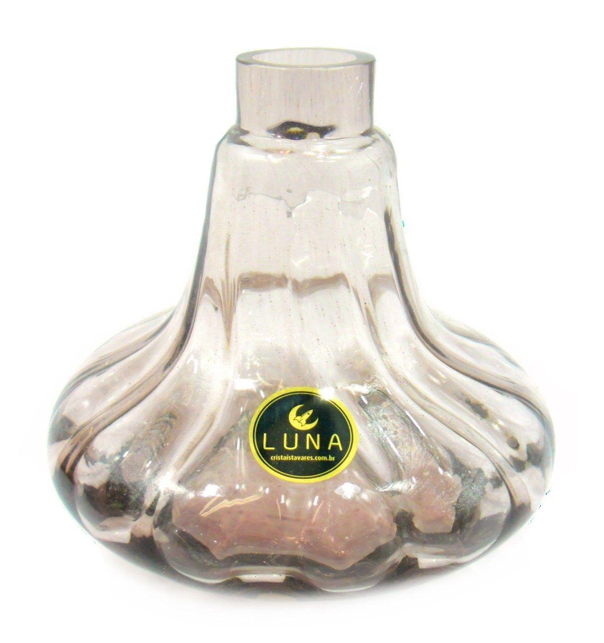 Vaso/base para narguile Aladin/Gênio 15,5cm, marca LUNA, em vidro tonalizado. Encaixe macho. Rosé (rosa claro)