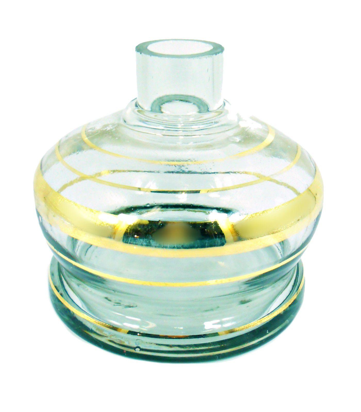 Vaso/base para narguile ALADIN macho 13cm, artesanal egípcio, transparente e  dourado. Bocal 4,0cm diâm.