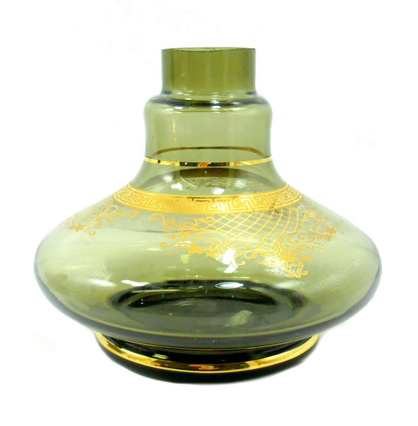 Vaso/base para narguile ALADIN PEQ(13,5cm) MD HOOKAH, listras e desenhos dourados. 3,9cm diâm. bocal