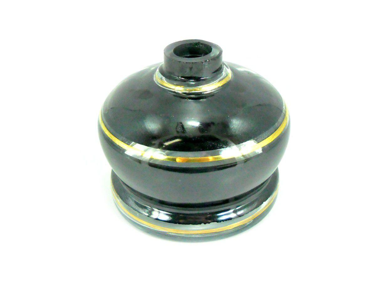 Vaso/base para narguile artesanal libanês 11,0cm, preto com listra dourada. Encaixe macho, bocal 4,0cm diâm.