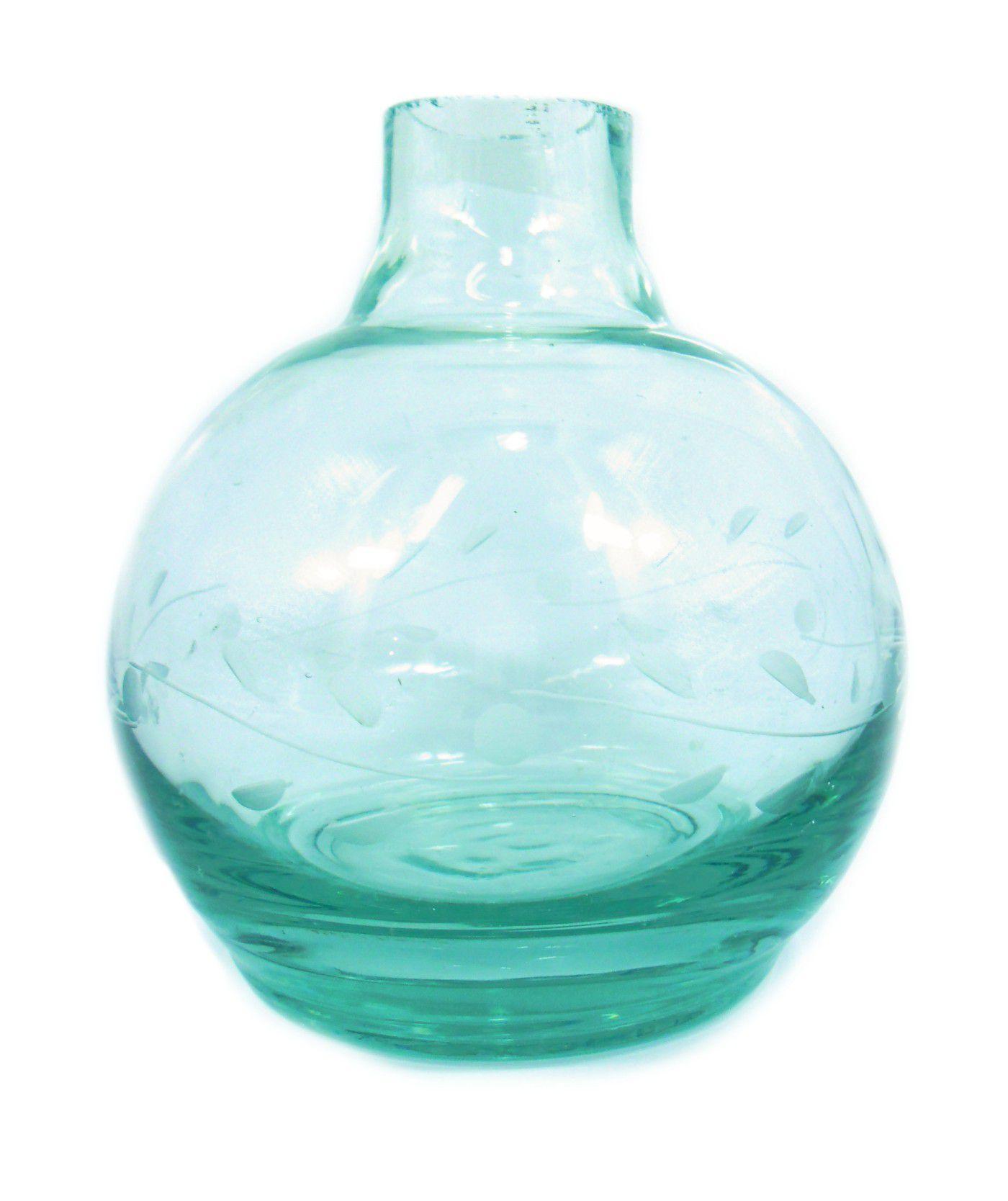 Vaso/base para narguile BALL macho 13cm, artesanal egípcio, transparente e lapidado. Bocal 3,7cm diâm.