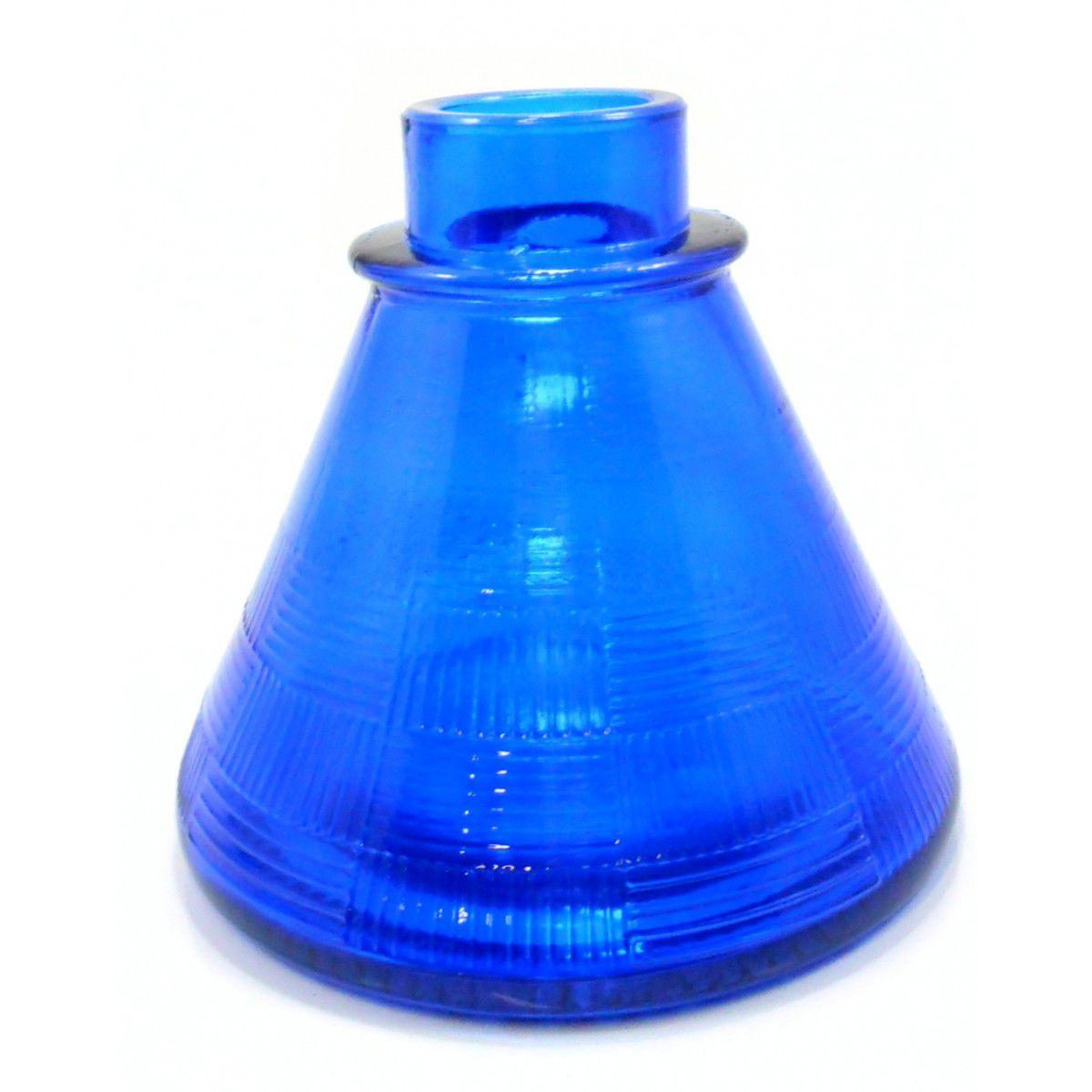 Vaso/Base para narguile base larga encaixe macho, 11cm alt. P/stems Judith, Triton, Amazon, Mya, etc Azul