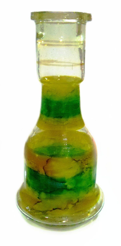 Vaso/Base para narguile em vidro, formato Sino, 30cm alt, 4,5cm diâmetro do bocal. DOURADO e VERDE.