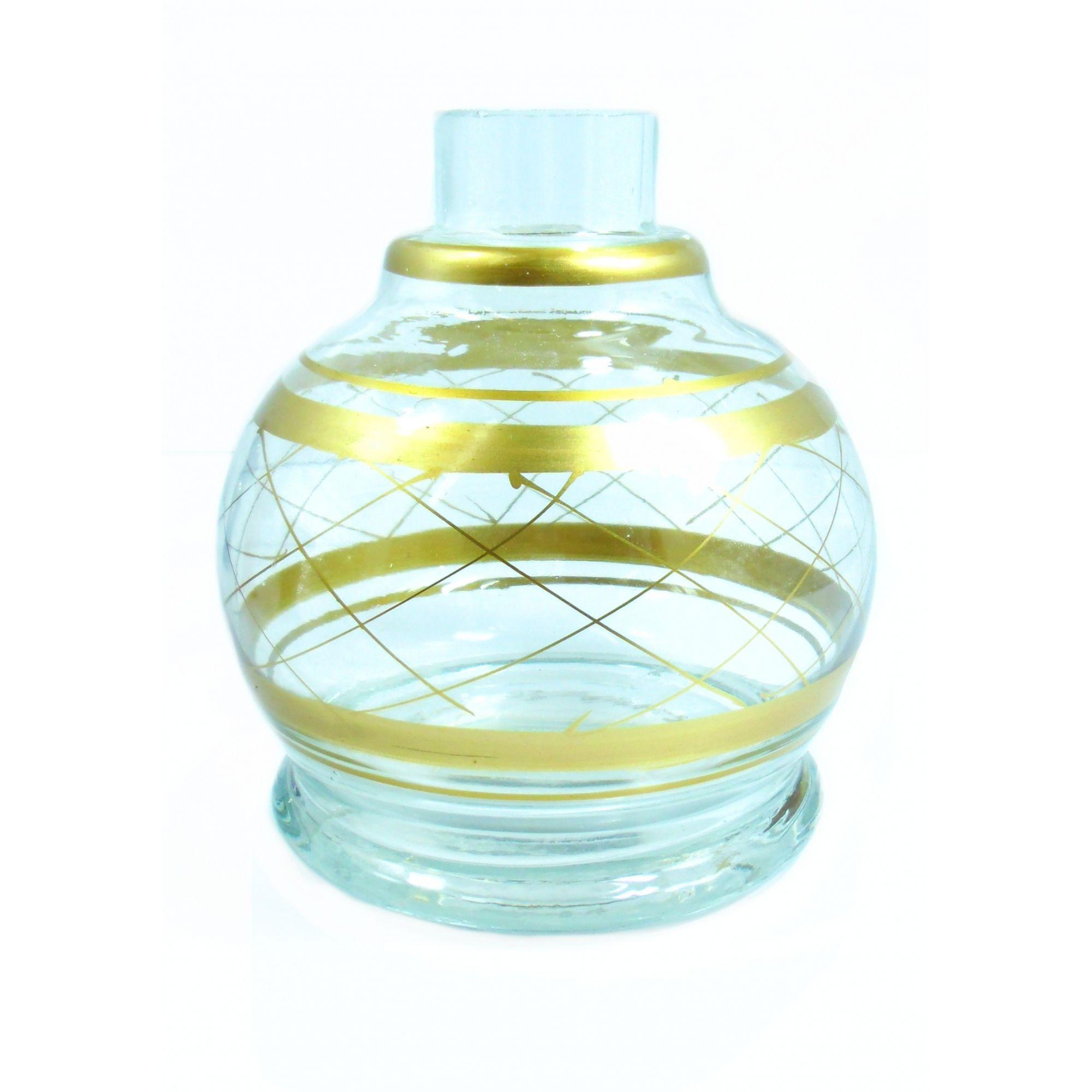 Vaso/base para narguile em vidro, KIMO BALL com listras douradas. 13cm alt. Encaixe macho (interno).