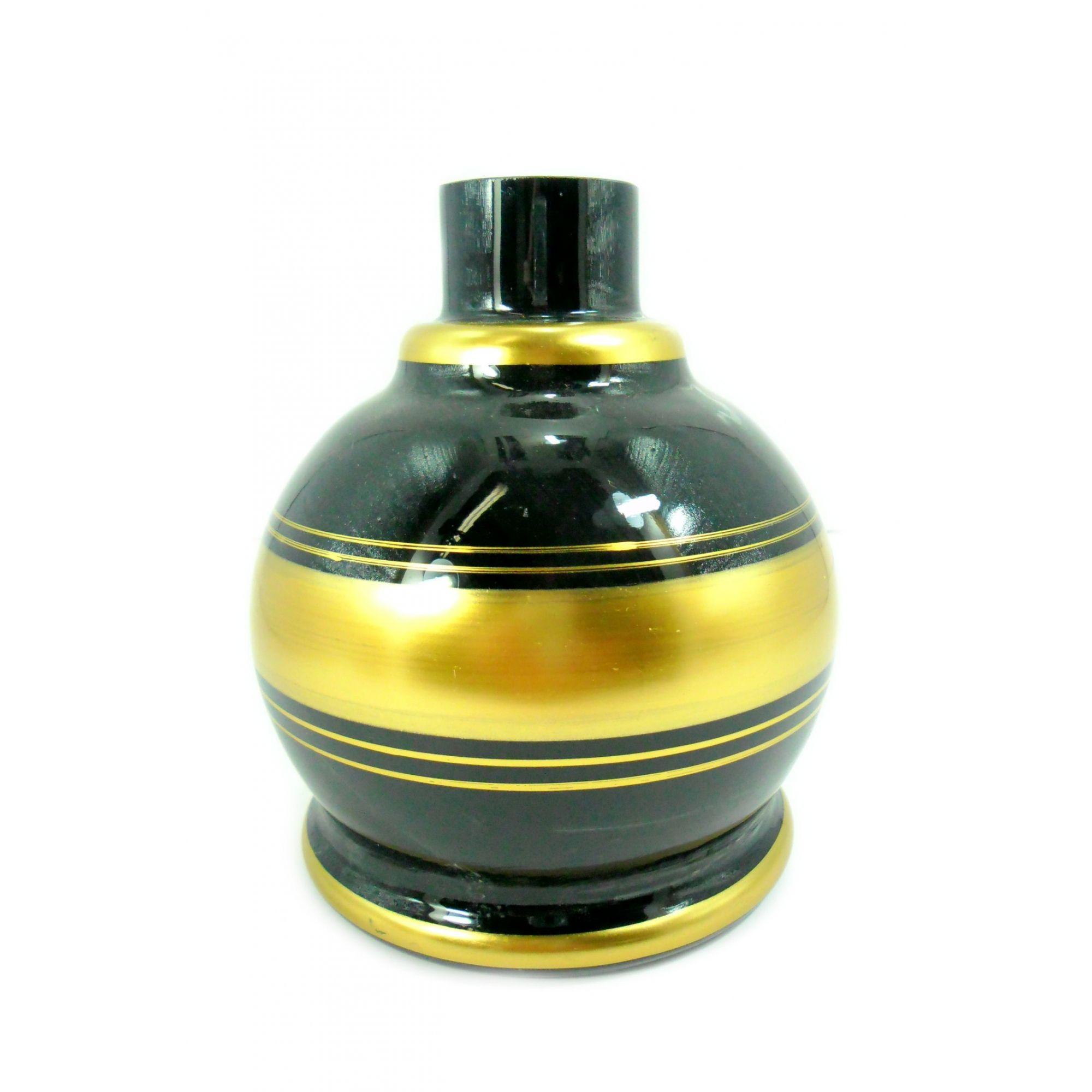 Vaso/base para narguile em vidro, KIMO BALL com listras douradas. 13cm alt. Encaixe macho (interno). Preto/dourado.