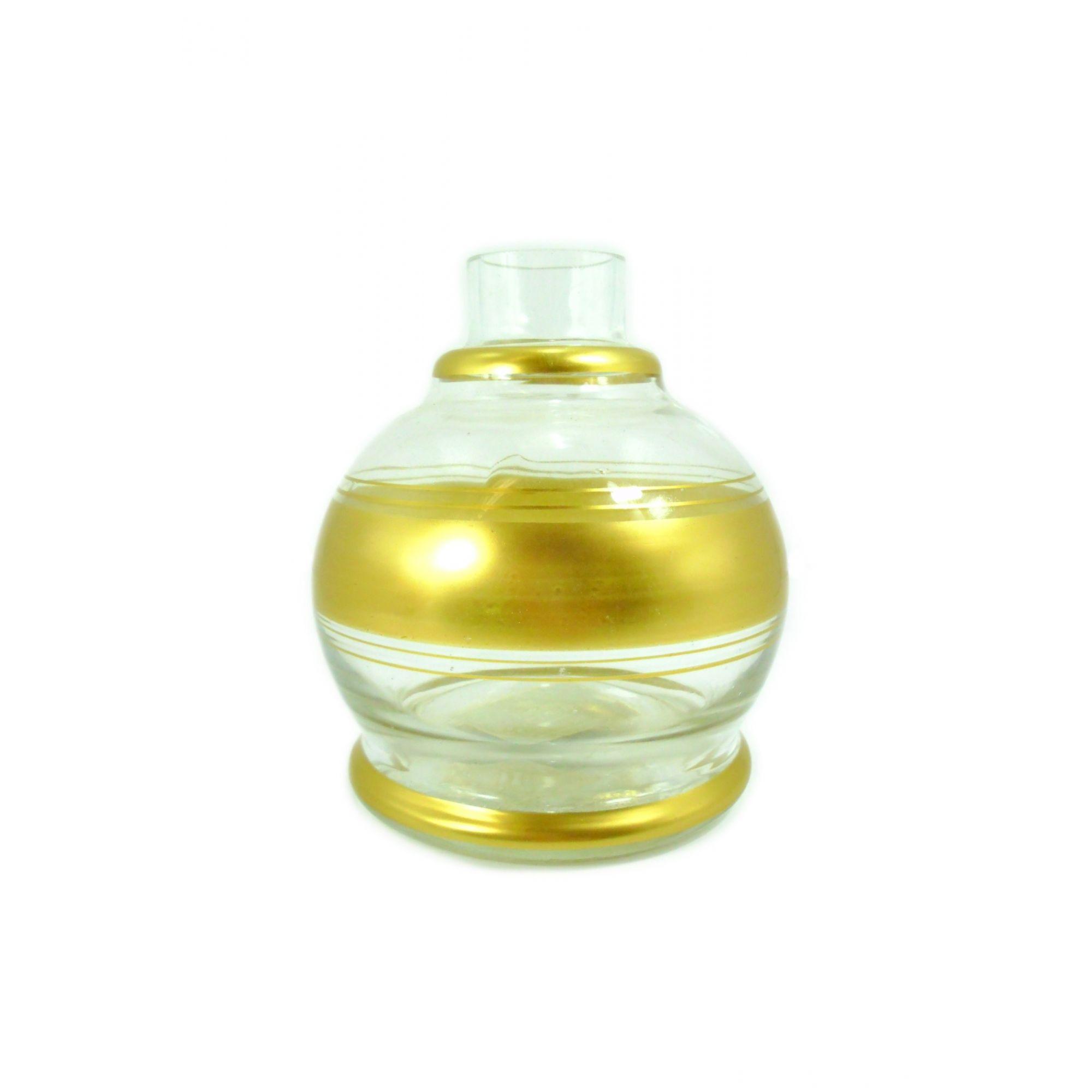 Vaso/base para narguile em vidro, KIMO BALL com listras douradas. 13cm alt. Encaixe macho (interno). Transparente/dour.
