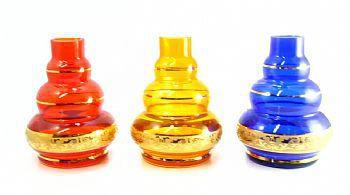 Vaso/base para narguile em vidro, Kimo TRIPLE (15cm), FAIXA GREGA dourada. Encaixe macho (interno). Transparente com lis