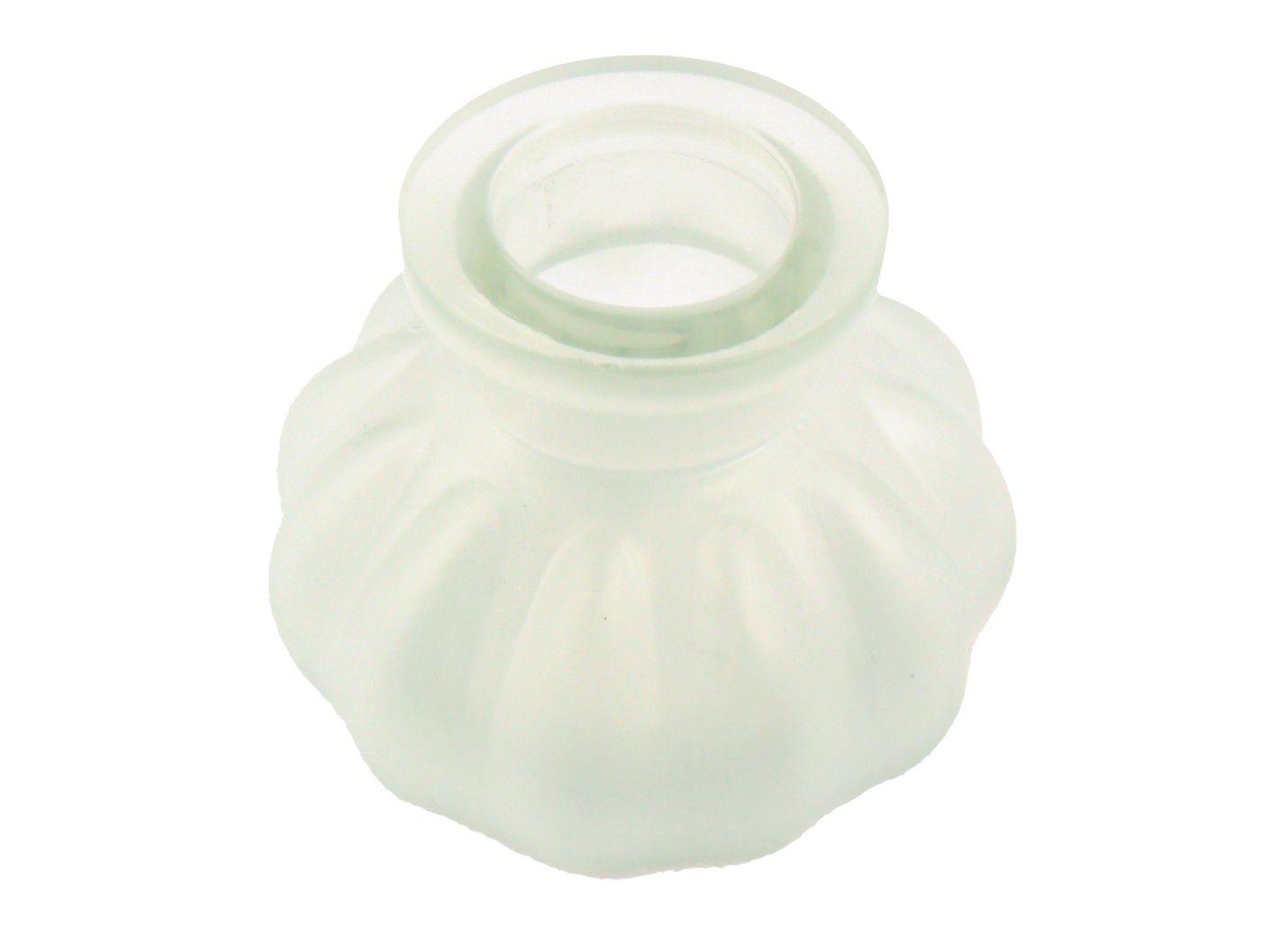 Vaso/base para narguile em vidro moldado, pequeno, 8cm de altura. Encaixe tipo fêmea. Branco