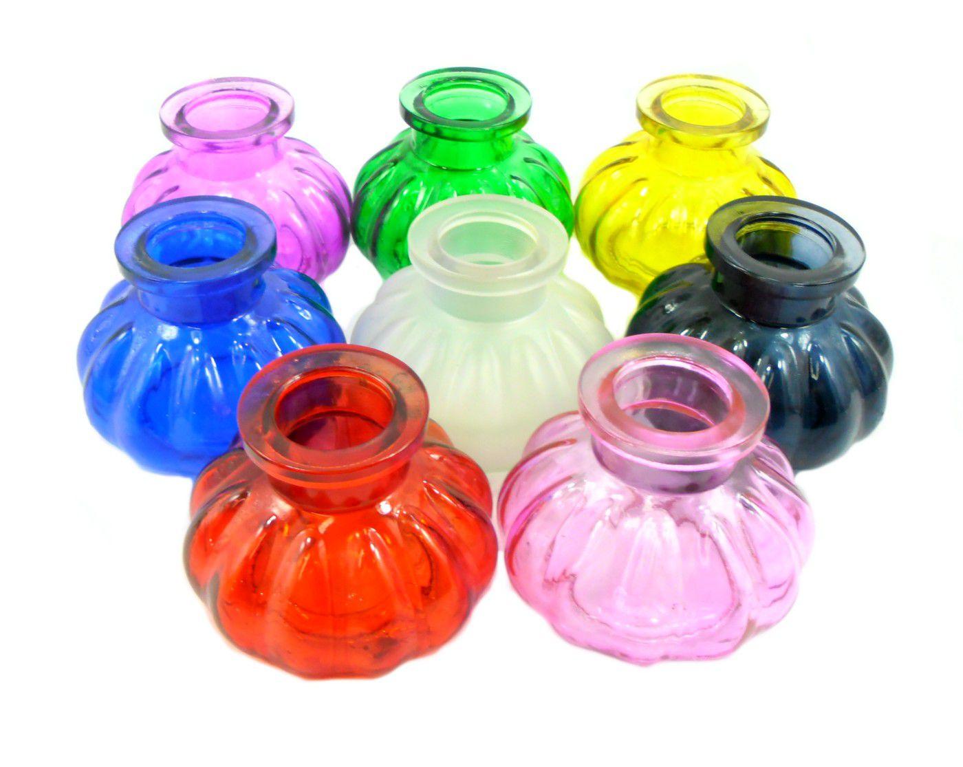 Vaso/base para narguile em vidro moldado, pequeno, 8cm de altura. Encaixe tipo fêmea. Várias cores.