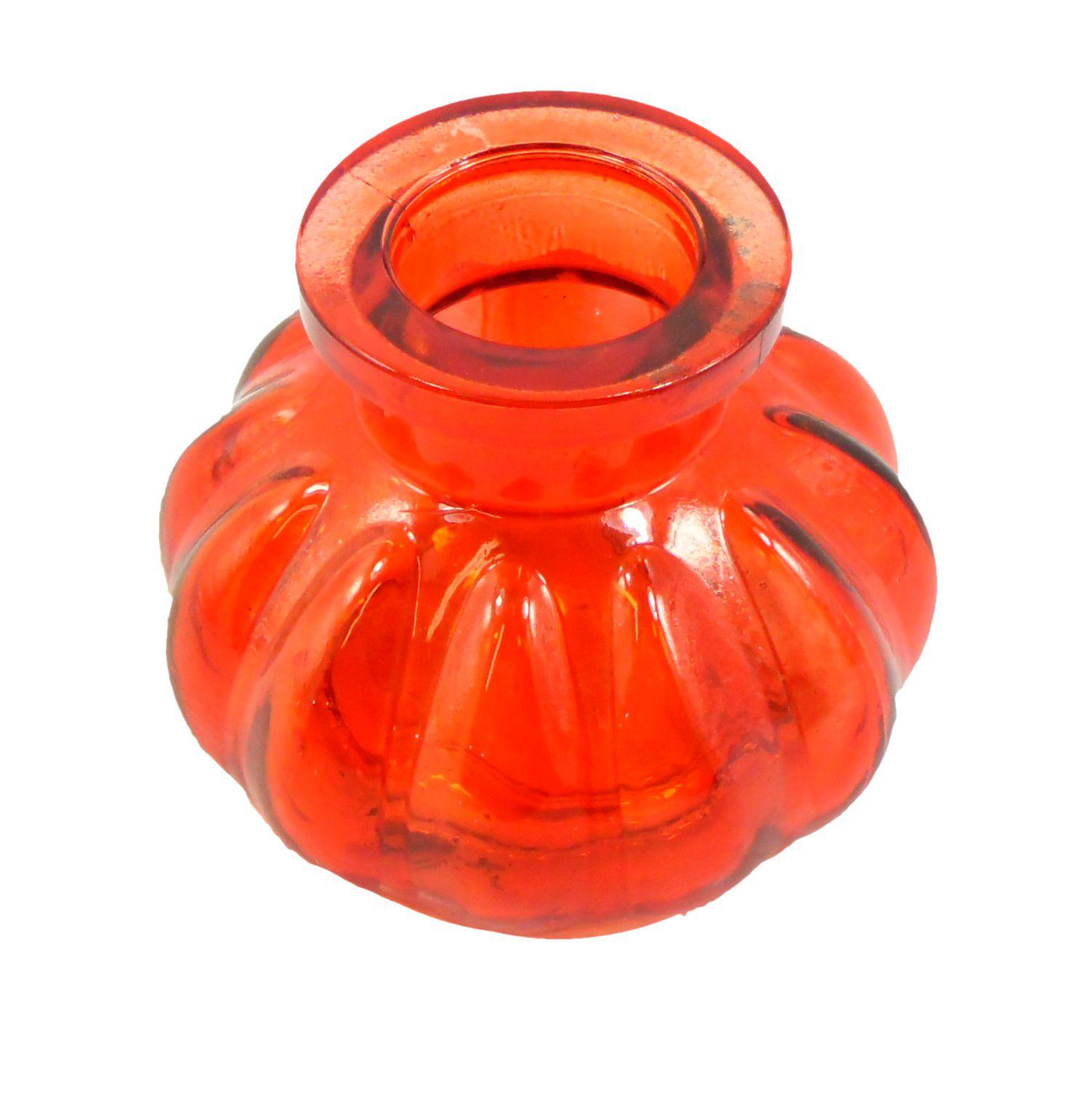 Vaso/base para narguile em vidro moldado, pequeno, 8cm de altura. Encaixe tipo fêmea. Vermelho