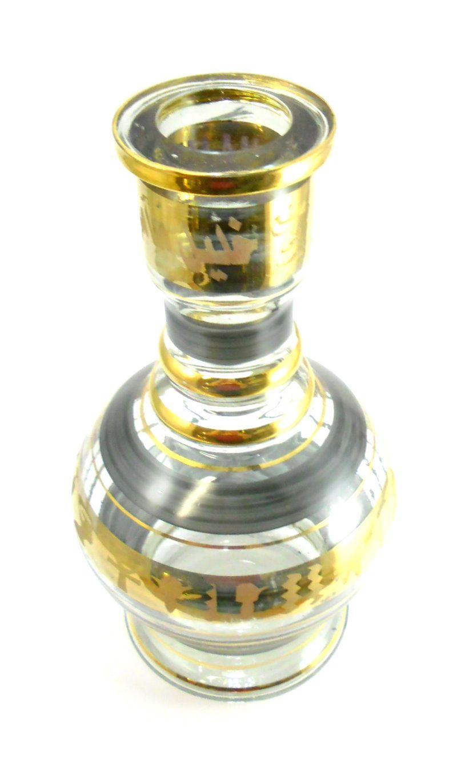 Vaso/base para narguile formato JUMBO 30cm, em vidro com pintura de listras DOURADAS. 4,7cm bocal.