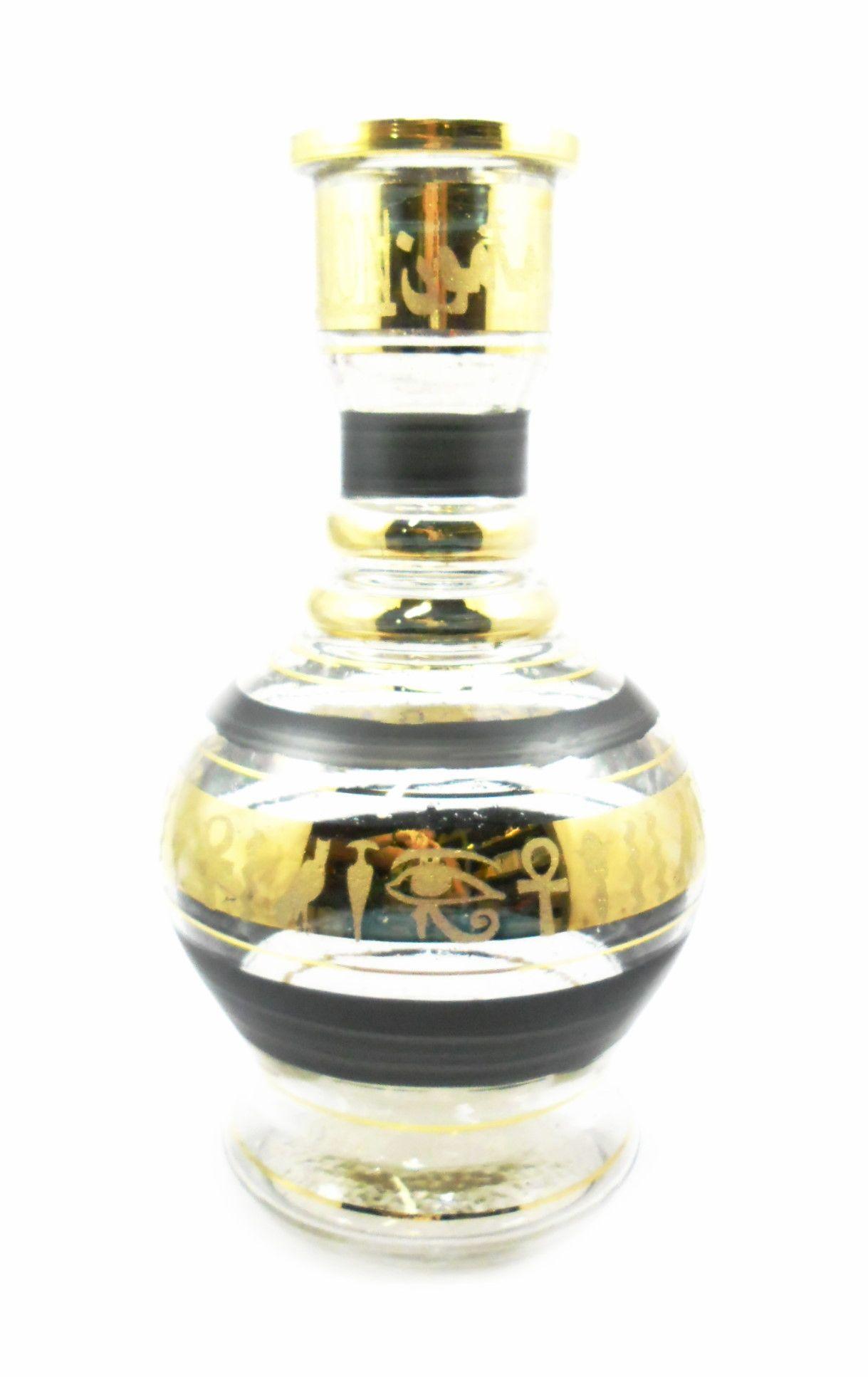 Vaso/base para narguile formato JUMBO 30cm vidro com pintura de listras horizontais em DOURADO.