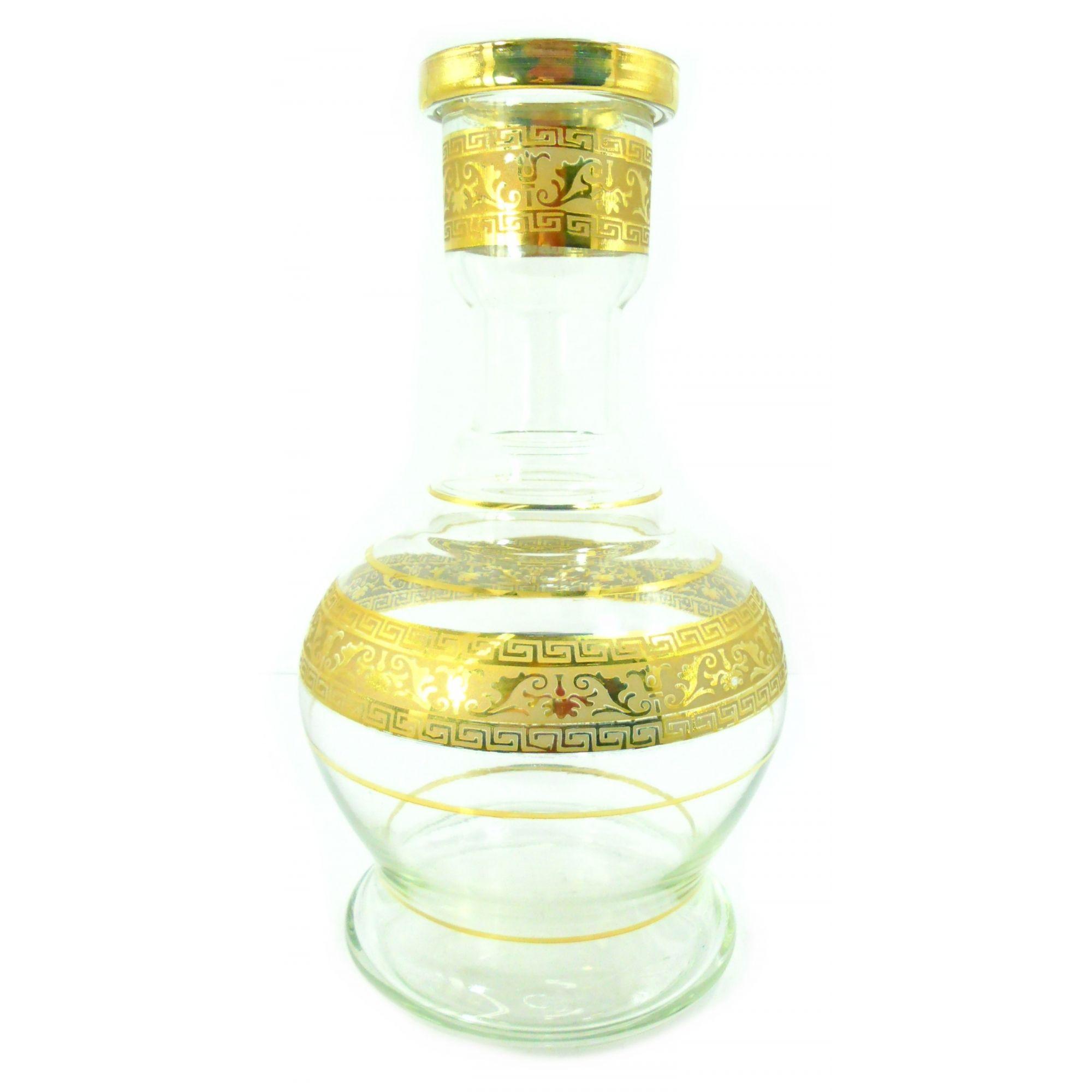 Vaso/base para narguile formato JUMBO GRANDE 33cm, decorado faixa grega dourado 5,4cm diâm. encaixe