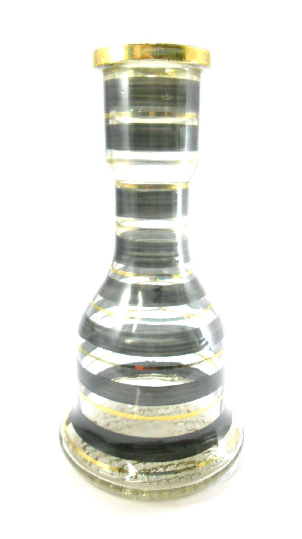 Vaso/Base para narguile formato SINO GRANDE 31cm LISTRAS em preto e dourado. Marca Pasha.