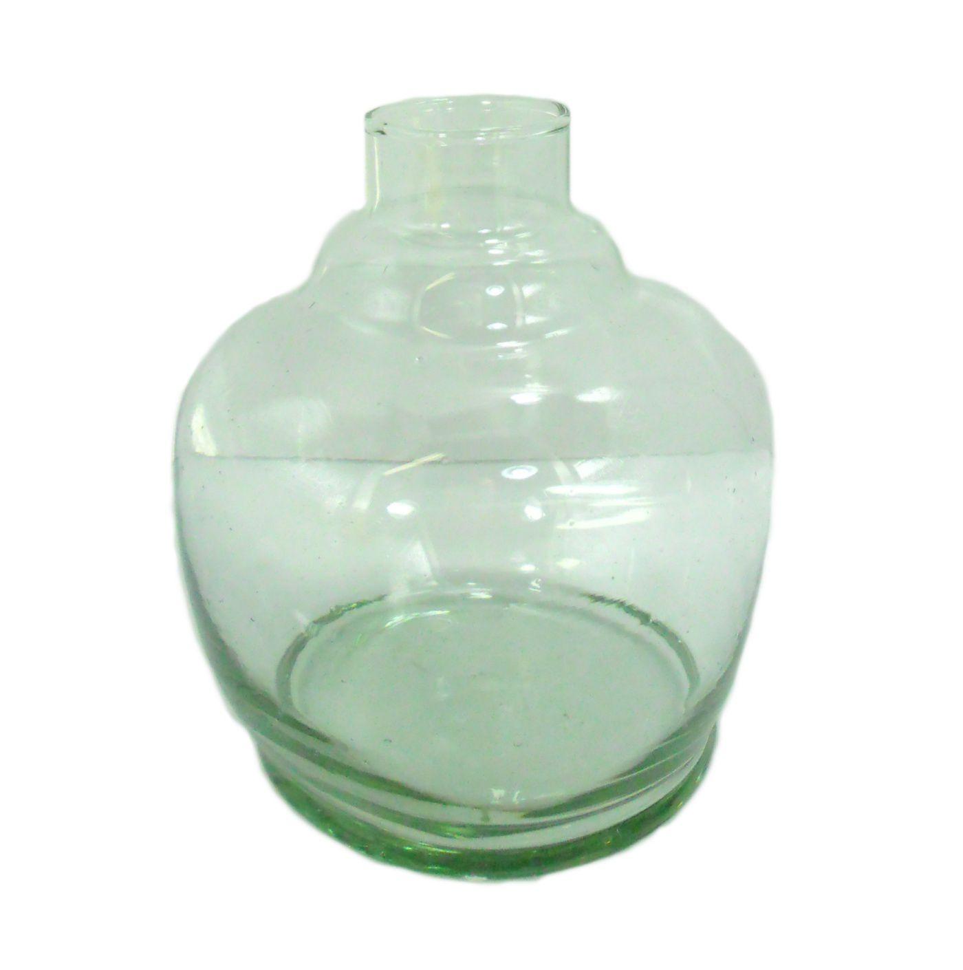 Vaso/base para narguile FULGORE, em vidro, formato PUMP. Altura 13cm. Bocal 3,7cm diâm. Transparente