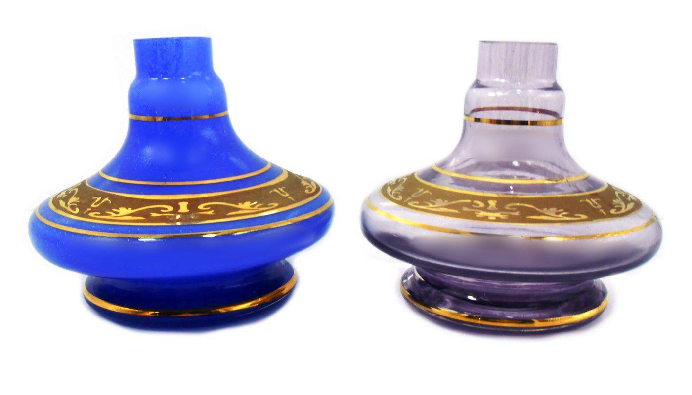 Vaso/base para narguile GÊNIO/ALADIN com FAIXA GREGA dourada (13cm), Shisha Glass. Encaixe macho.