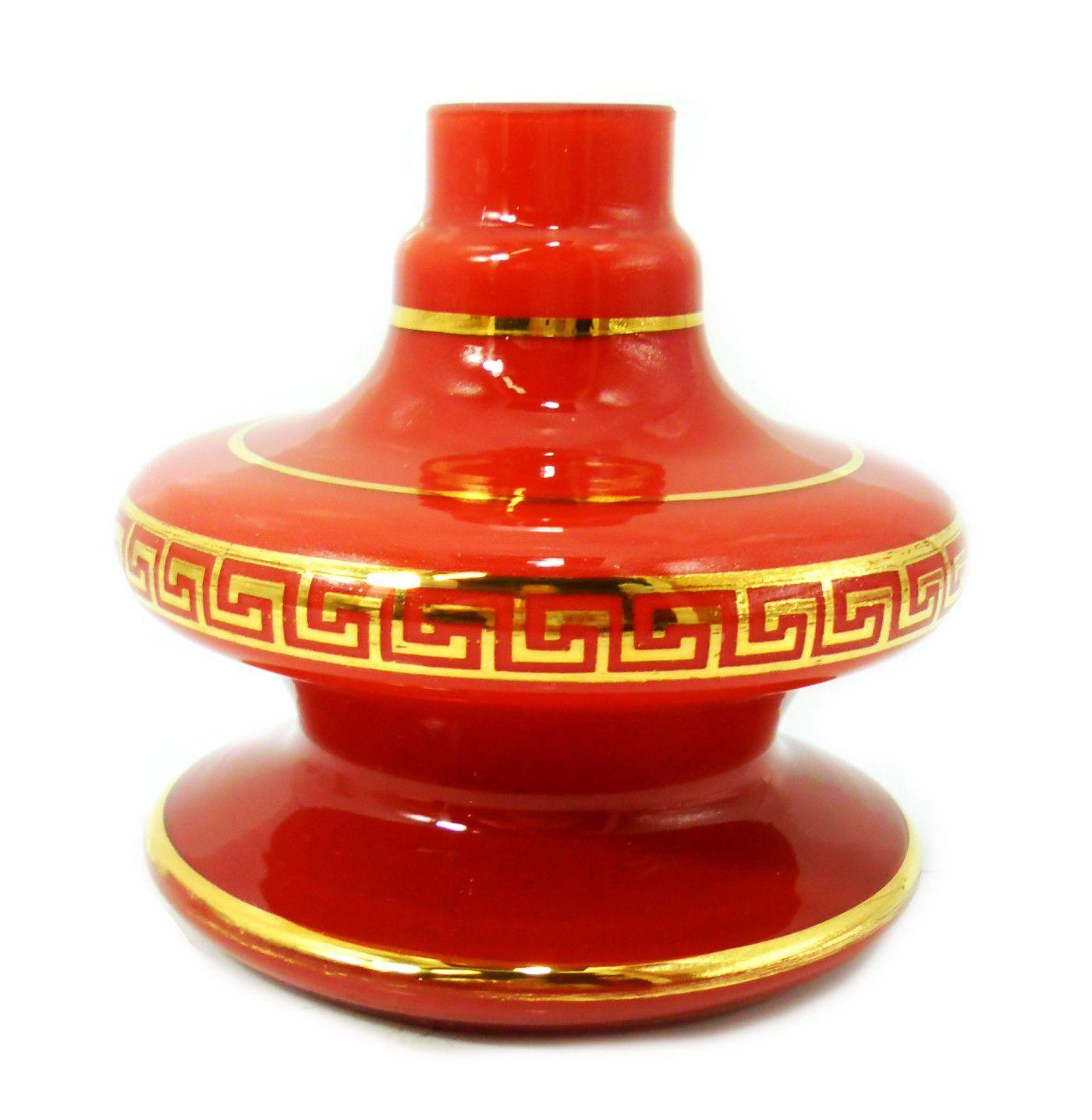 Vaso/base para narguile GÊNIO/ALADIN com FAIXA GREGA dourada (13cm), Shisha Glass. Encaixe macho. Vermelho com faixa gre