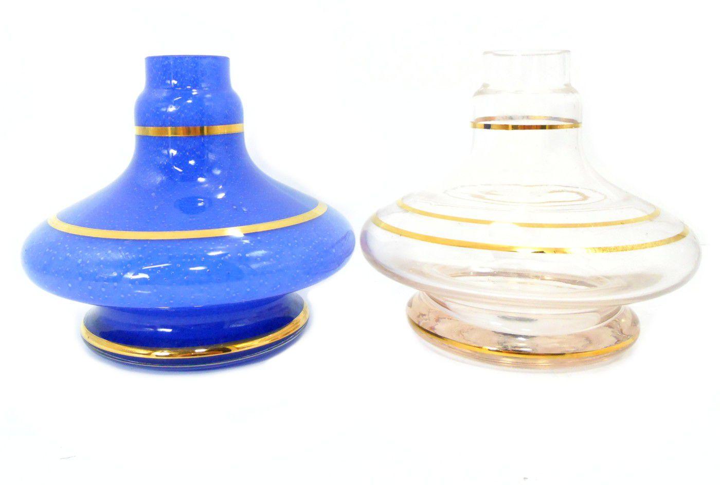 Vaso/base para narguile GÊNIO/ALADIN com LISTRA DOURADA (13cm), Shisha Glass. Encaixe macho.